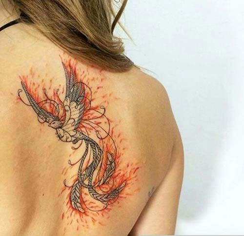 watercolor phoeniz tattoo renkli anka kuşu dövmesi