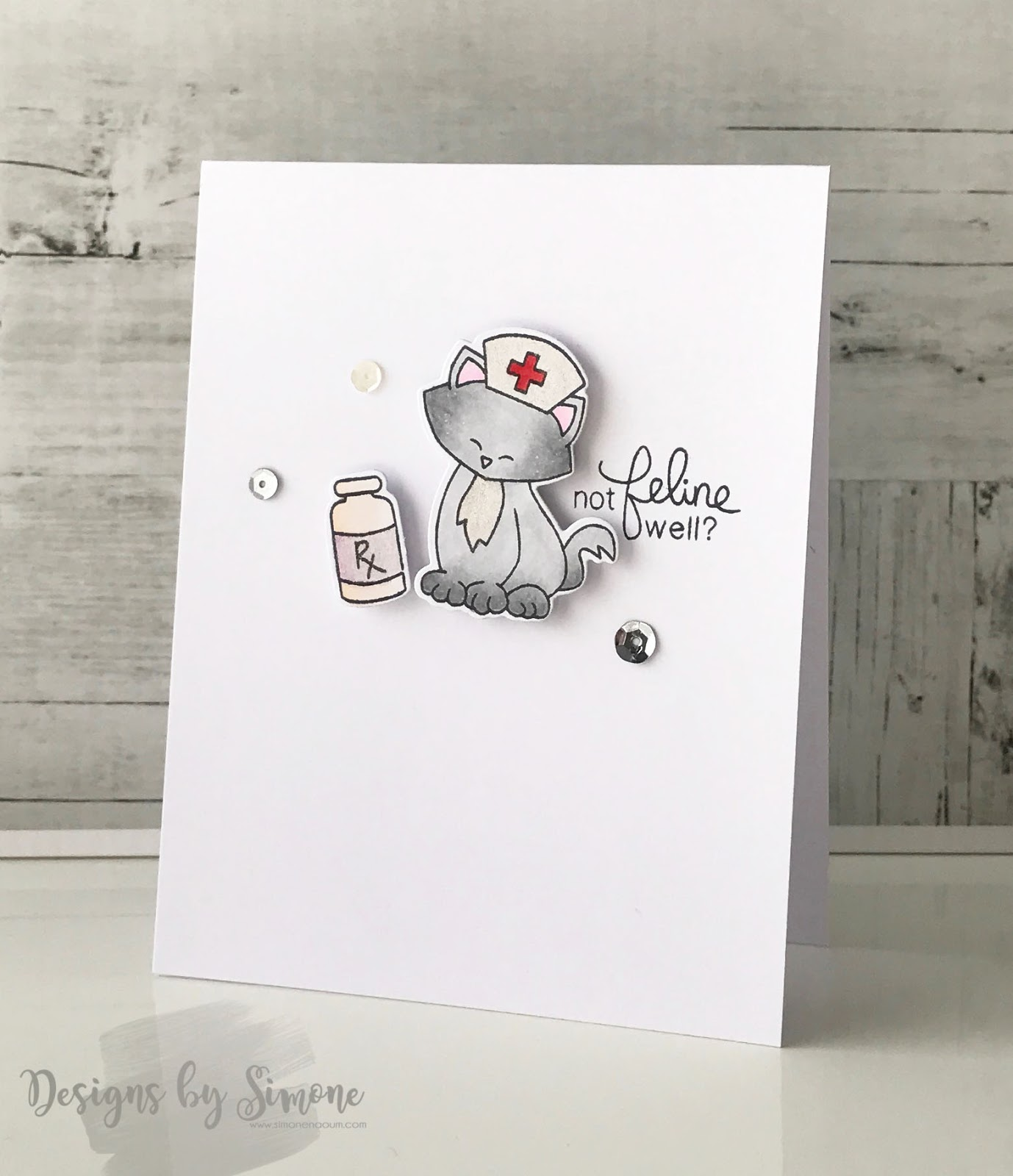 Feline Unwell Card by June Guest Designer Simone Naoum | Newton's Sick Day Stamp Set by Newton's Nook Designs #newtonsnook
