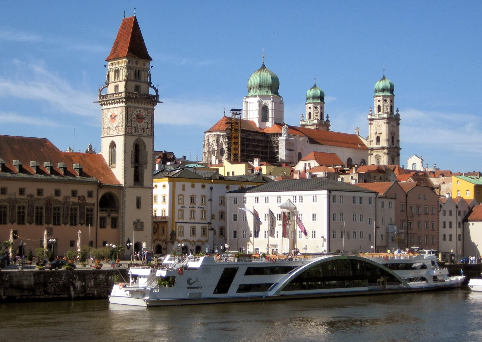 Passau City Hall seen from the Danube River.