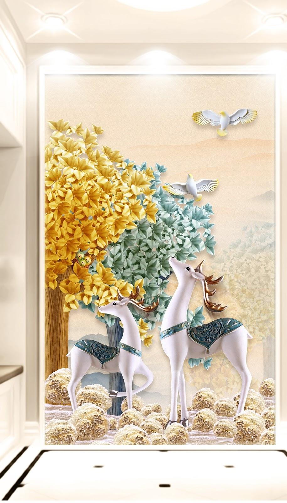 Tranh 3d khổ dọc hươu hoa gạc vàng