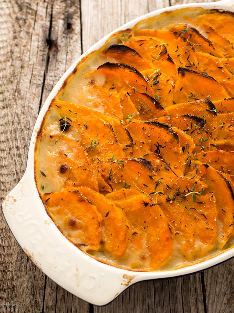 Zapiekanka z porów i batatów wegańska, bezglutenowa kuchnia roślinna blog kulinarny