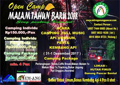 Open CampTahun baru 2018, Hutan Pinus Gunung Pancar, Bukit Pancar,  Curug Bidadari-Sentul Paradise Park