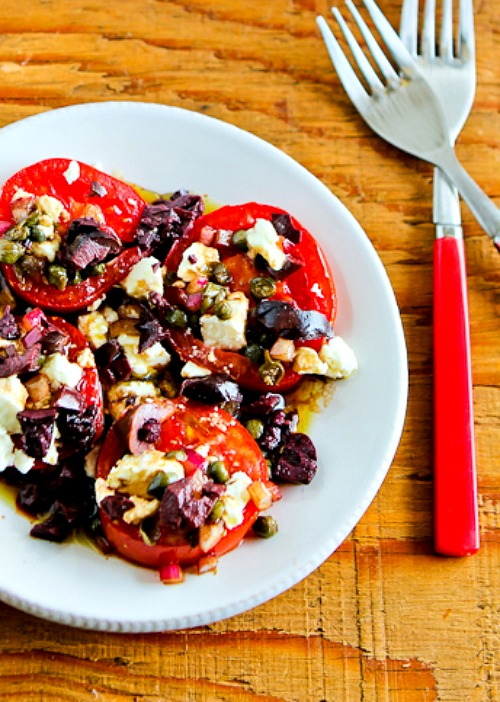 Sliced Tomato, Olive and Goat Cheese Salad Recipe with Onion-Caper Vinaigrette found on KalynsKitchen.com
