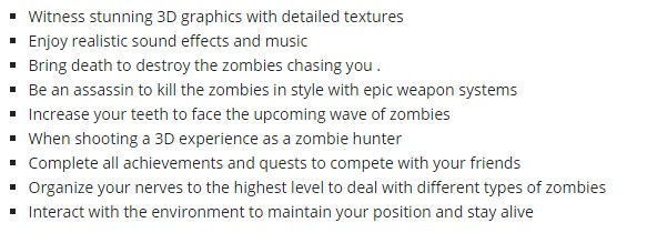 Dead target zombie game details