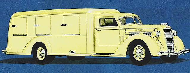 a 1937 ice cream delivery truck in yellow pastel