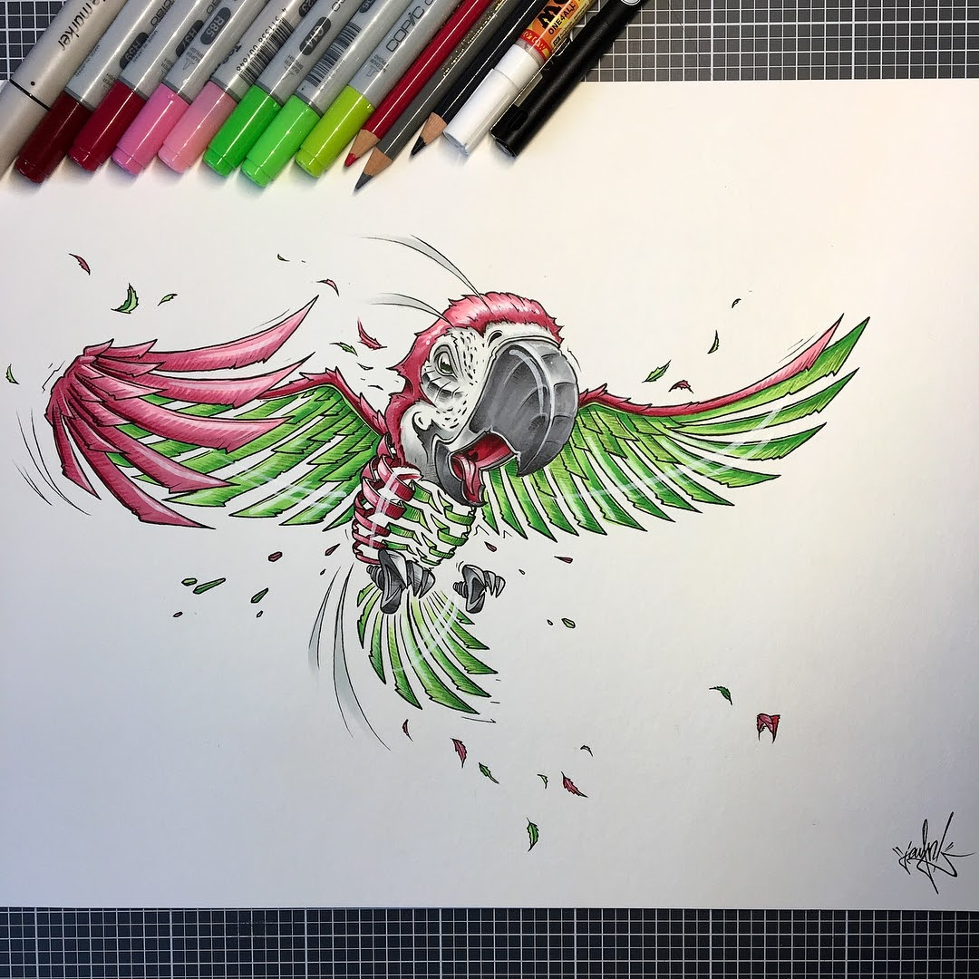13-Parrot-JAYN-ABS-Crew-Slice-Animal-Portraits-Stylised-Looks-www-designstack-co