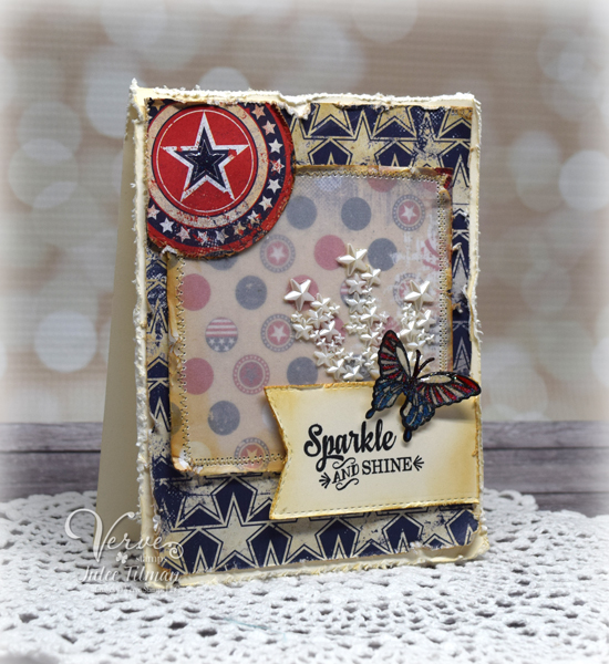 Americana card by Julee Tilman featuring Verve Stamps www.poeticartistry.blogspot.com