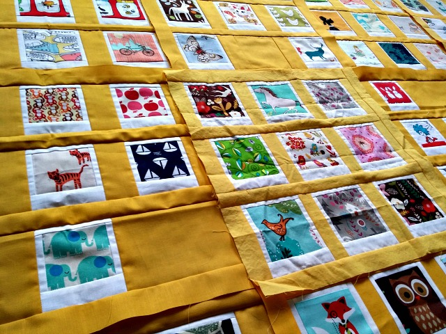 Polaroid Photo Quilt, in progress, Puppilalla