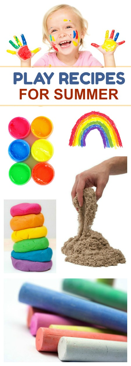AMAZING play recipes for Summer including chalks, sands, goops, slimes, bubbles, and more! So many fun ideas to keep the kids busy!!