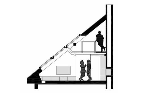 Sezione del primo e secondo piano di una ristrutturazione di un piccolo loft a Praga