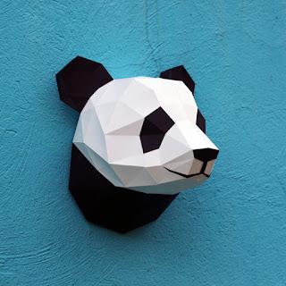 origami panda dekoratif duvar süsü