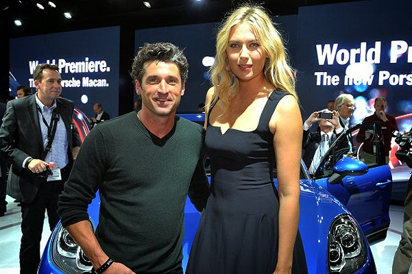 Maria Sharapova and Patrick Dempsey on the car presentation