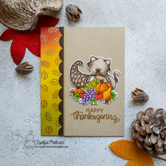 Thanksgiving cat card by Zsofia Molnar | Newton's Cornucopia Stamp Set by Newton's Nook Designs #newtonsnook #handmade