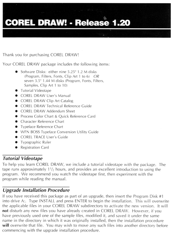 CorelDRAW 1.1 contents