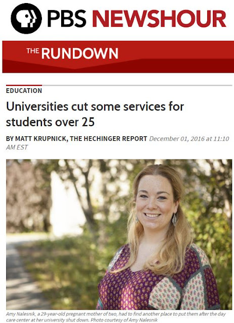 "Screenshot of PBS NewsHour The Rundown Titled ""Universities cut some services for students over 25"" with photo of a university student names amy Nalesnik"