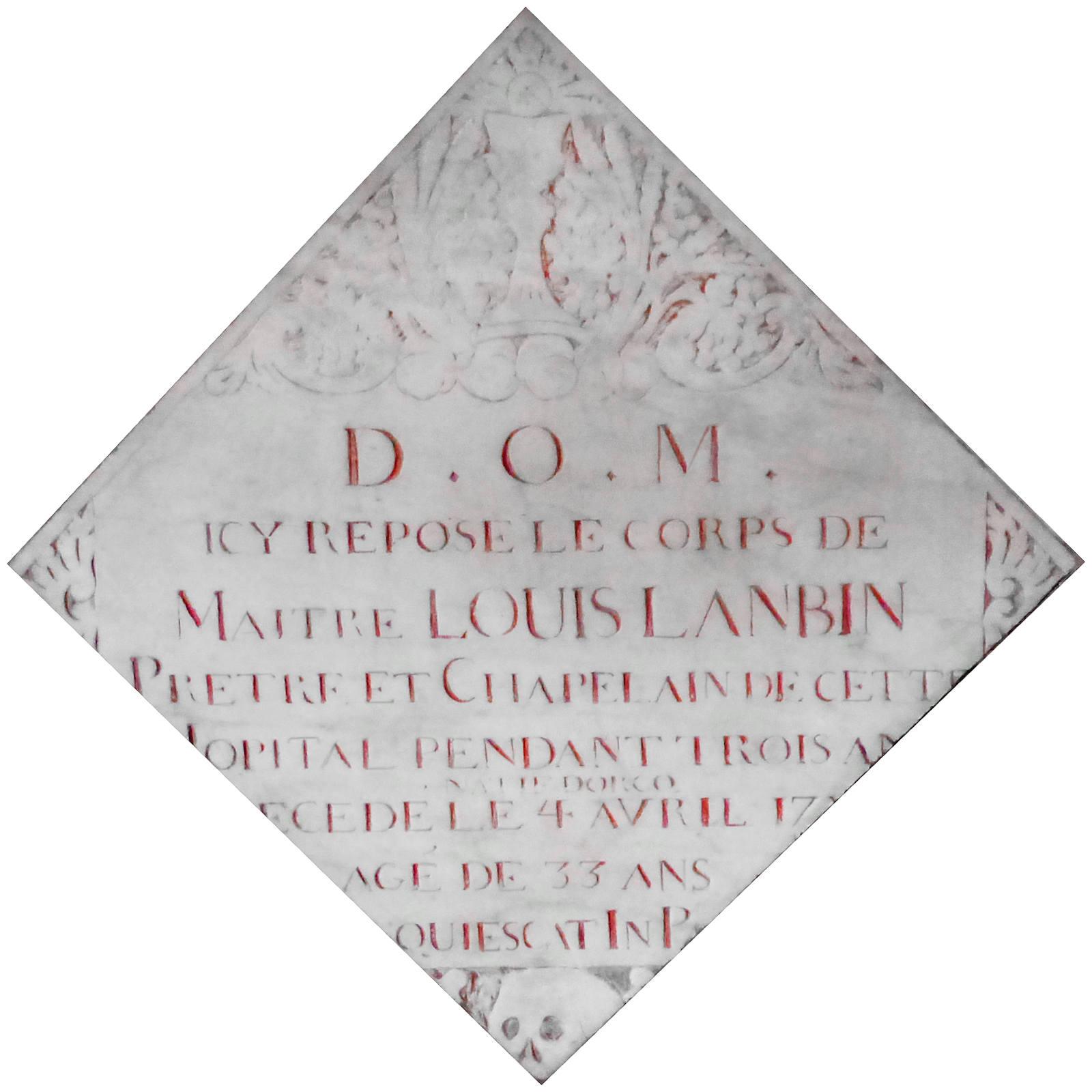 Carrelage mortuaire Prêtre Louis Lanbin