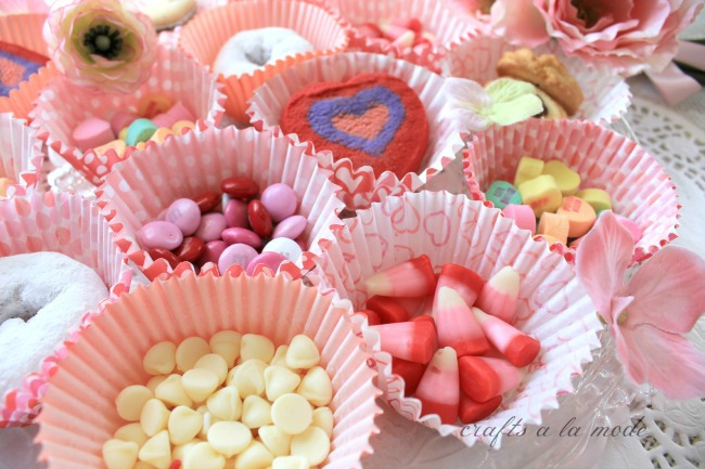 Valentine candies in cupcake papers