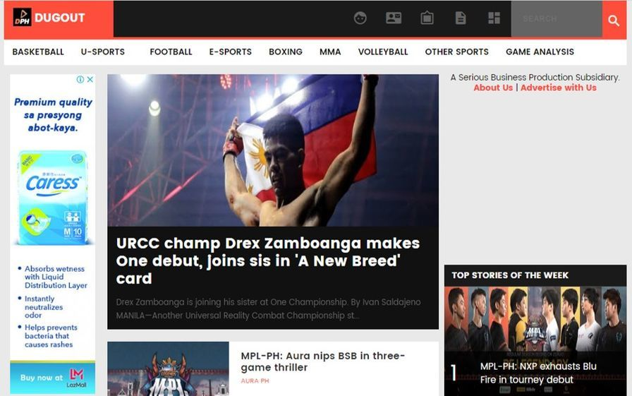 The homepage of Dugout Philippines