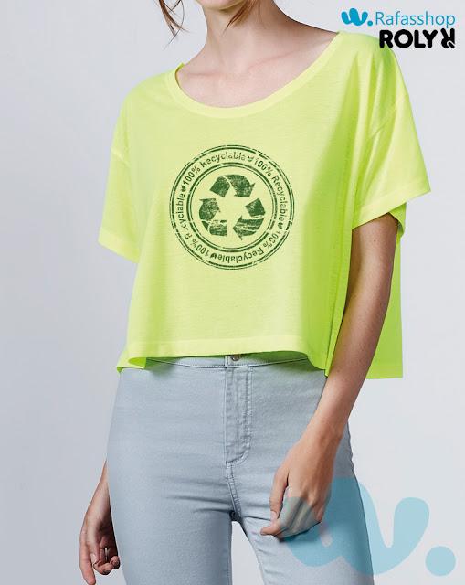 Camiseta Top Cella 7141 Roly Mujer Manga Corta Cuello Redondeado