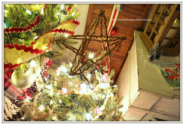 Vintage Inspired Farmhouse Christmas Tree-Twig Star-Button Garland- From My Front Porch To Yours