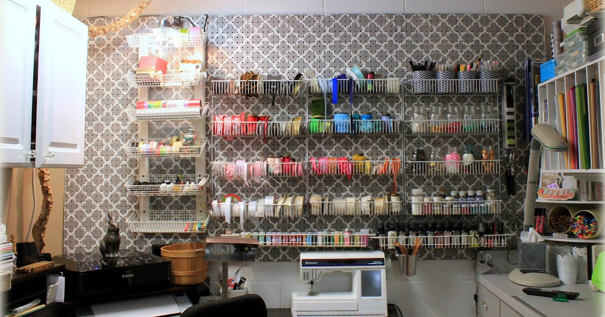 Inkingpink Stenciled Pegboard Craft Room Wall