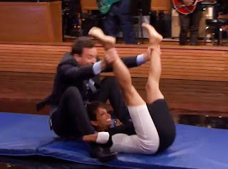 Halle Berry and Jimmy Fallon hamster wheel on tonight Show