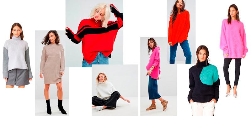 как носить объемный свитер осенью