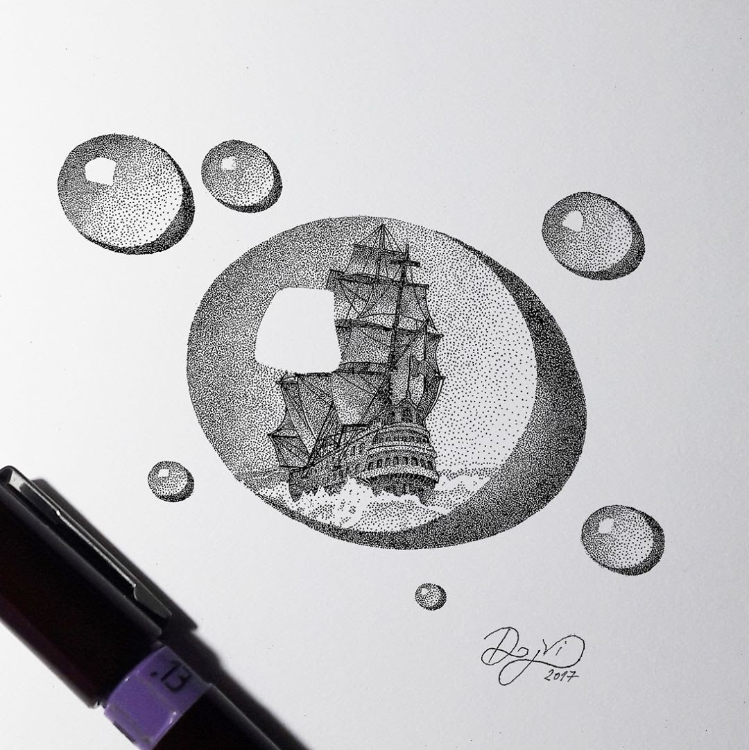 02-Eternity-Hour-Dejvid-Stippling-Illustrator-using-Dots-to-Draw-www-designstack-co