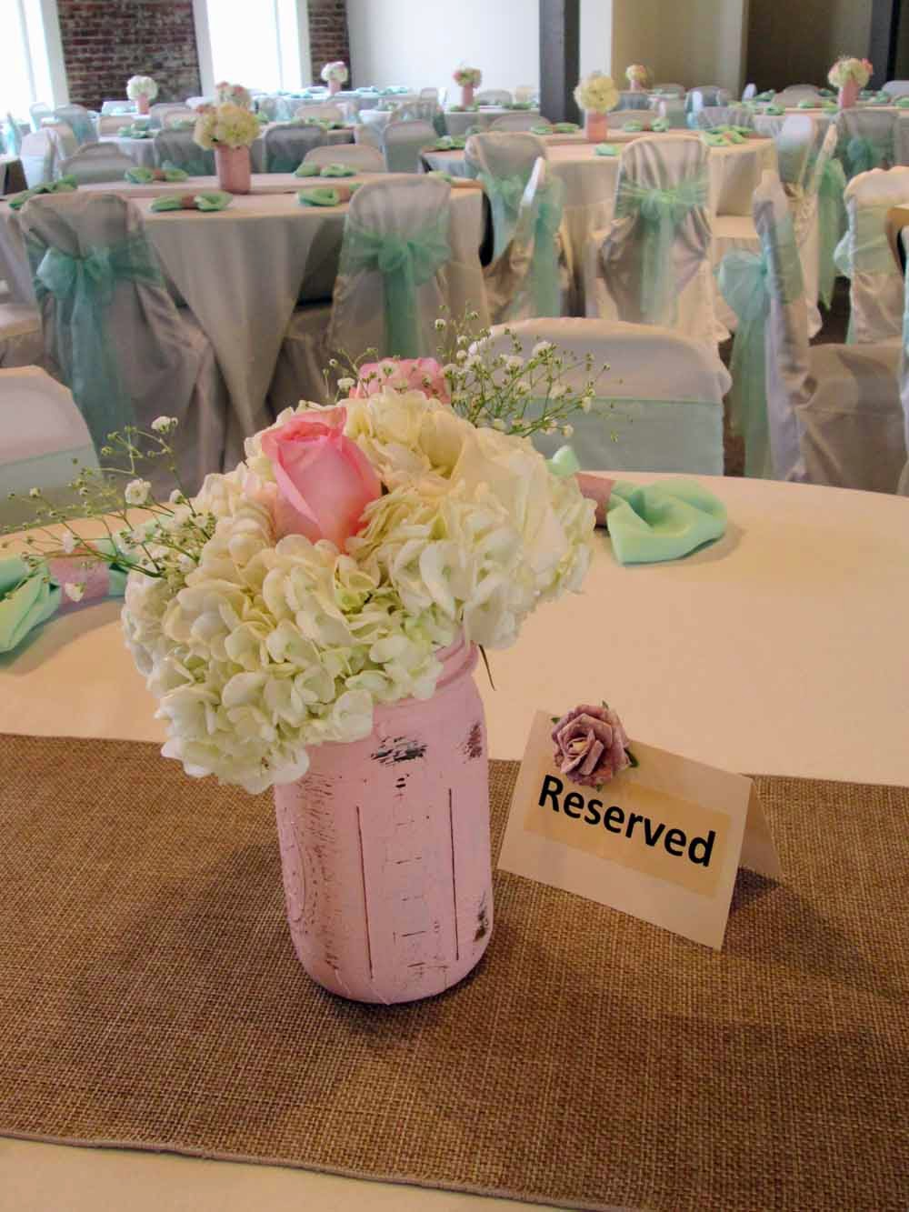diy organza chair covers sofa sleeper twin get the look rustic mint and blush wedding reception elite events napkin ring our soft faux burlap table runners compliment mason jar centerpieces with floral by blooms bouquets ivory