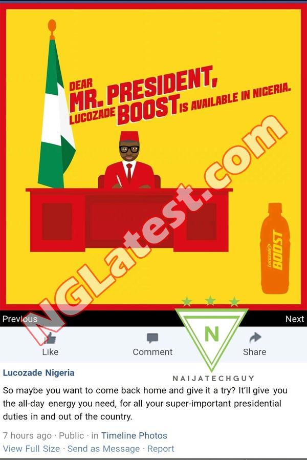 Lucozade Boost shades president Buhari on Facebook