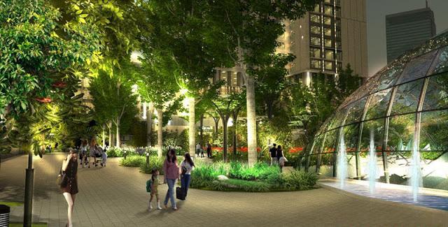 Khuôn viên cây xanh giữa quảng trường trung tâm