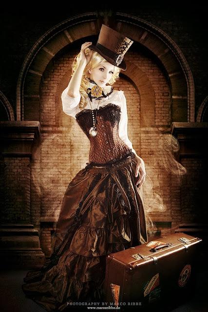 victorian steampunk top hat corset skirt collar