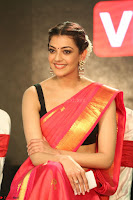 Kajal Aggarwal in Red Saree Sleeveless Black Blouse Choli at Santosham awards 2017 curtain raiser press meet 02.08.2017 082.JPG