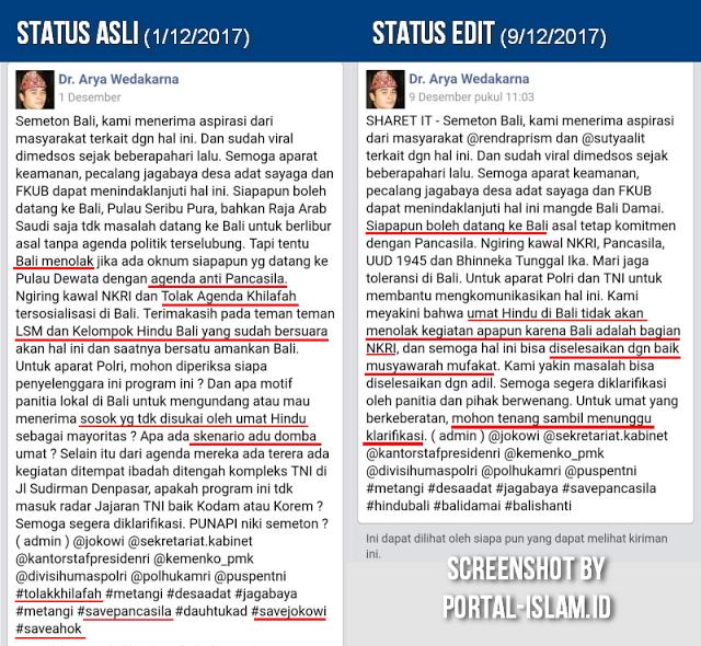 Tercyduk! Dipolisikan Kasus Persekusi Ustad Abdul Somad, Arya Wedakarna Edit Status di Fbnya