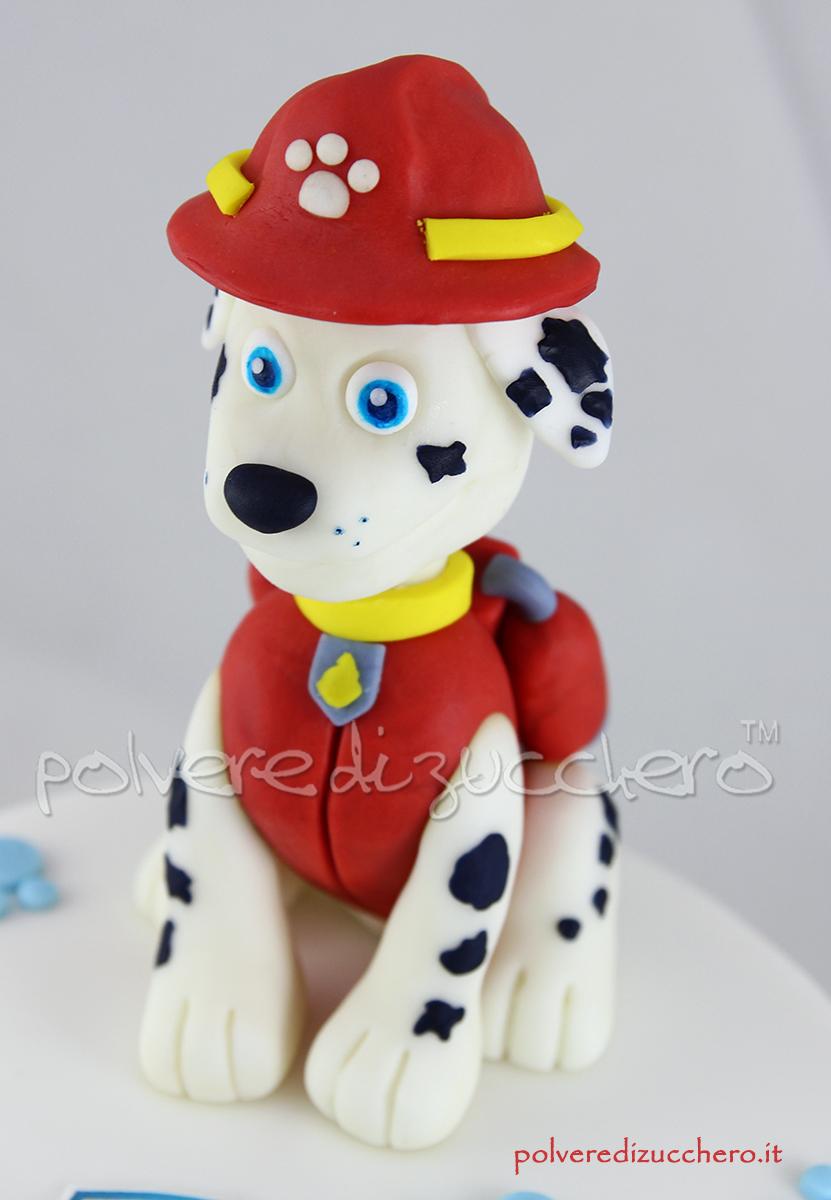 Torta decorata paw patrol con marshall tridimensionale in