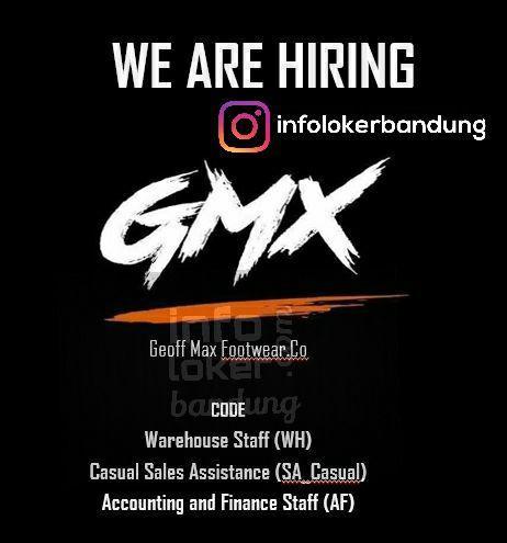 Lowongan Kerja Geoff Max Footwear.Co ( GMX ) Bandung September 2017
