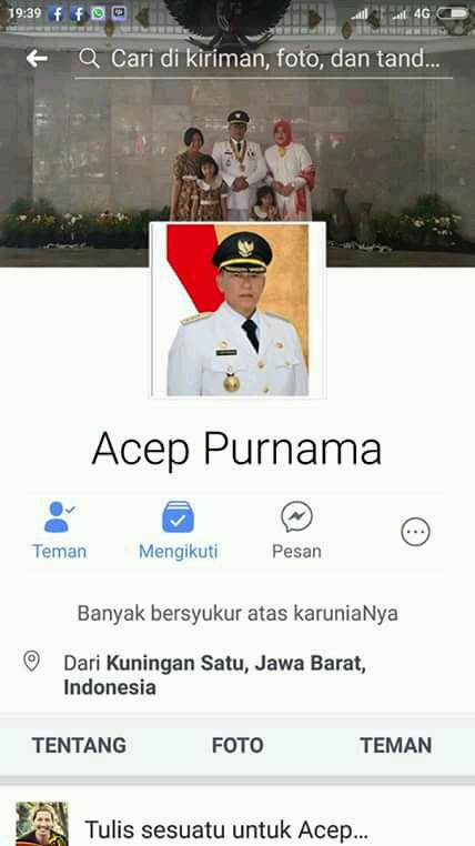 Waspada! Akun Facebook Bupati Kuningan Dikloning untuk Minta Pulsa.