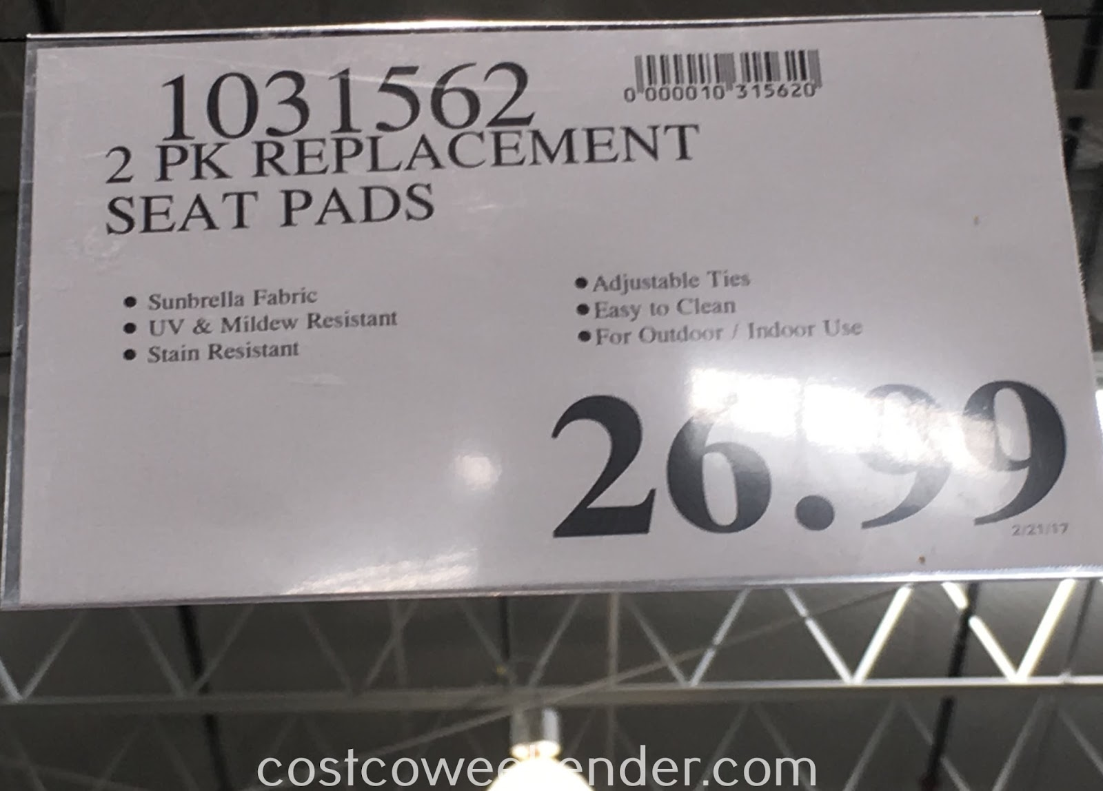 Costco 1031562 - Deal for a 2 pack of Sunbrella Outdoor Seat Pads at Costco