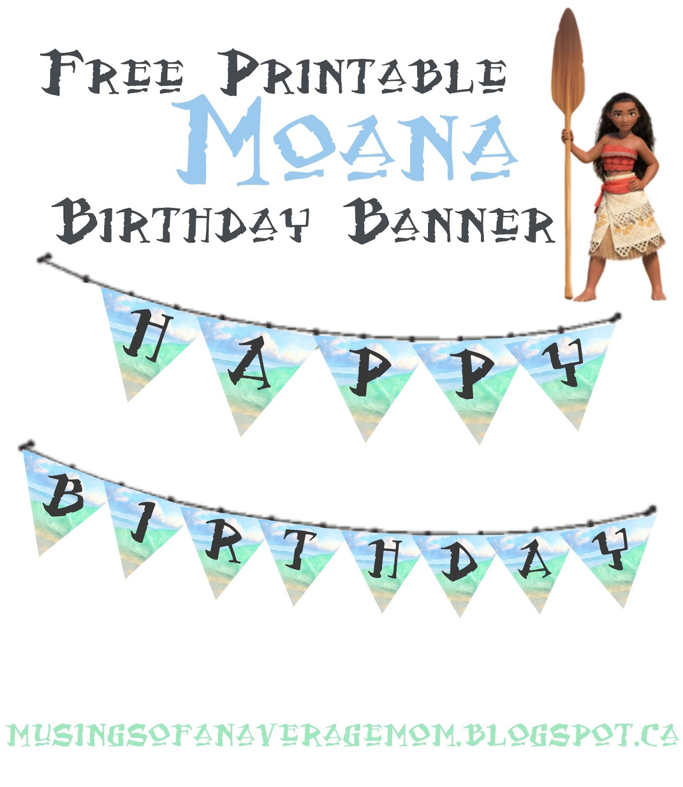 picture relating to Printable Moana referred to as Musings of an Normal Mother: Moana Birthday Banner