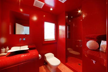 Vrooms: Sweet Red Bathroom Design