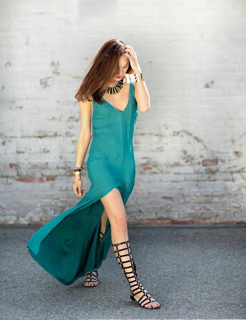 Long silky deep v neck maxi dress