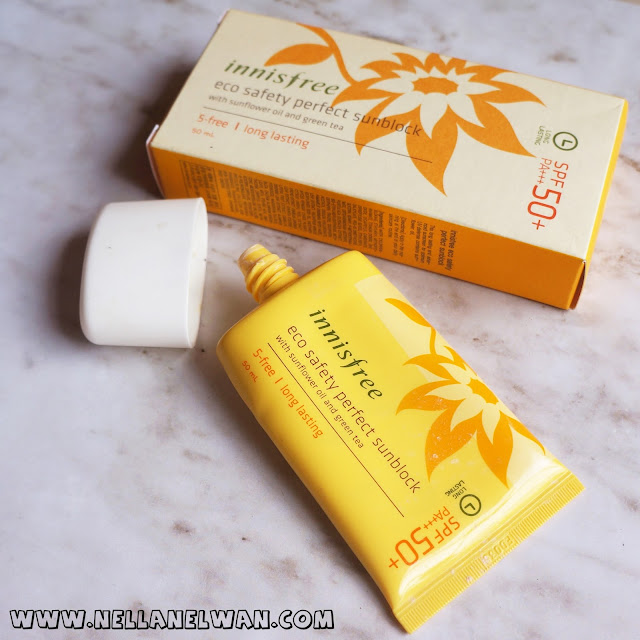 innisfree eco safety perfect sunblock spf 50 swatch nellanelwan