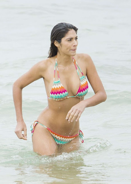 Pia Miller in Bikini on 'Home and Away' set in Sydney