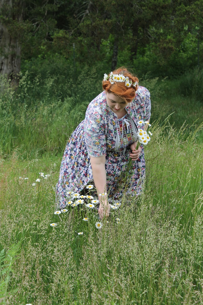 1950s plus size peasant folk dress with hand embroidery and a daisy crown