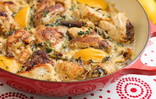 Food Lust People Love: As Jamie Oliver says, this lemon garlic milk sauce chicken recipe sounds like an odd combination but it's actually incredibly delicious. The chicken is golden and delectable but the star is the garlicky milk sauce. You are going to want to sip that with a spoon straight from the pan.