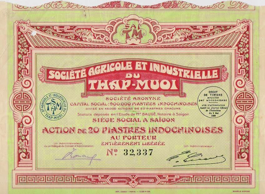 Indochina share of the Société Agricole et Industrielle du Thap-Muoi, Vietnam