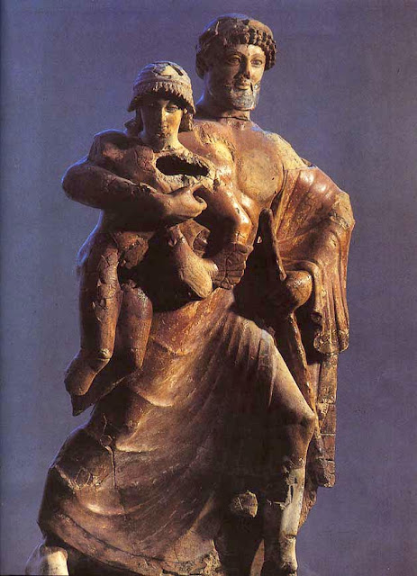 Zeus and Ganymede Terracotta Statue; Late Archaic; Olympia Archeological Museum