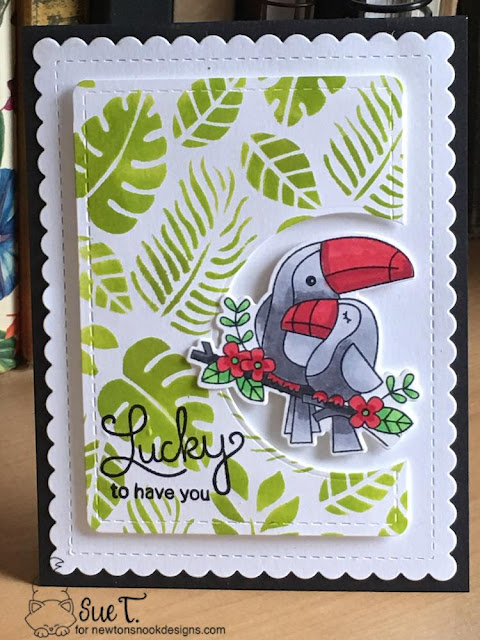 Lucky to have you by Sue features Tropical Leaves, Newton's Pot of Gold, Toucan Party, and Frames & Flags by Newton's Nook Designs; #newtonsnook