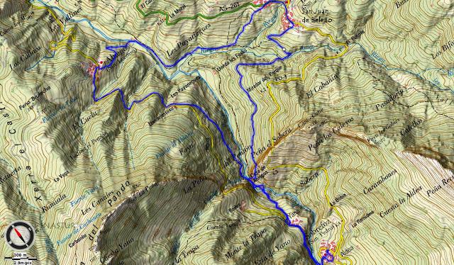 Mapa topográfico Ruta Valle de Ponga - Asturias