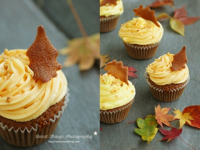 Rum Krokant Cupcakes mit Blätter Keksen